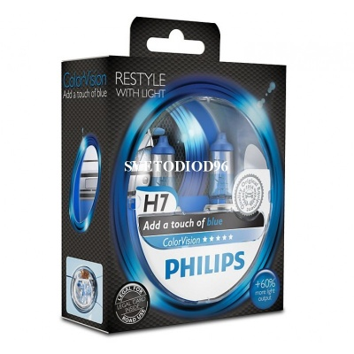 Купить PHILIPS Color Vision Blue (H7, 12972CVPBS2) | Svetodiod96.ru
