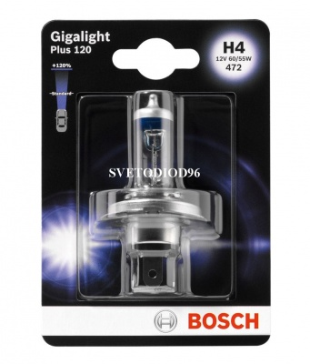 Купить BOSCH H4 12V- 60/55W (P43t) GIGALIGHT PLUS +120% (к.уп.1шт.) | Svetodiod96.ru